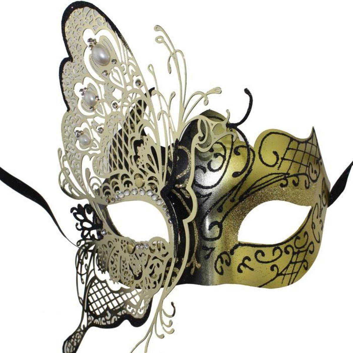 masquerade bal f te femme masque papillon masque v nitien pour les femmes noir or achat. Black Bedroom Furniture Sets. Home Design Ideas