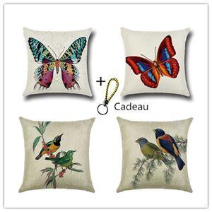 HOUSSE DE COUSSIN 4 Pcs Housses de Coussin Multicolores Coton et lin