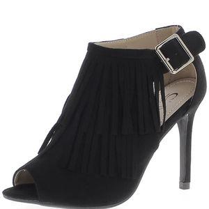 ESCARPIN Low-boots noirs ouverts à talon de 10cm aspect dai ebd03af0a040