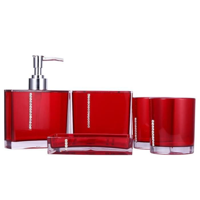 MEIHESHOP 5 Pcs Accessoires Salle de bains(Rouge)