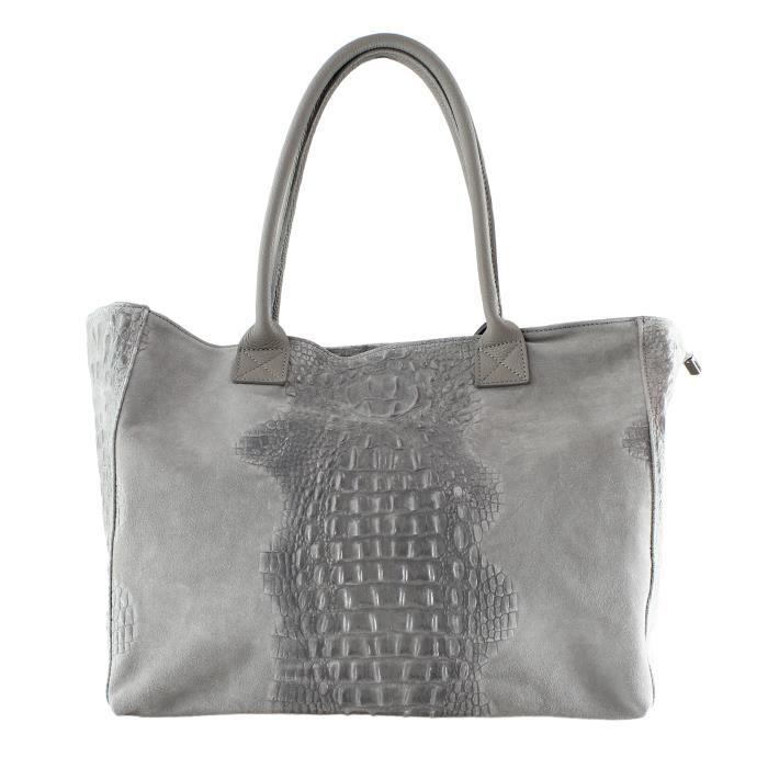 CTM Motif Sac à main femme Animalier avec cuir suédé pièces, en cuir véritable made in Italy - 53x30x16 Cm