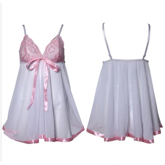 Sous G Pyjamas En Robes string Nuisette vêtements Blanc Lingerie Dentelle M Femmes Sexy rrCTwq