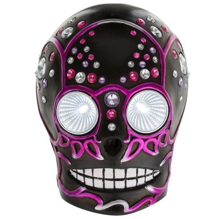 DÉCORATION LUMINEUSE Crâne LED luminaire solaire noir violet extérieur