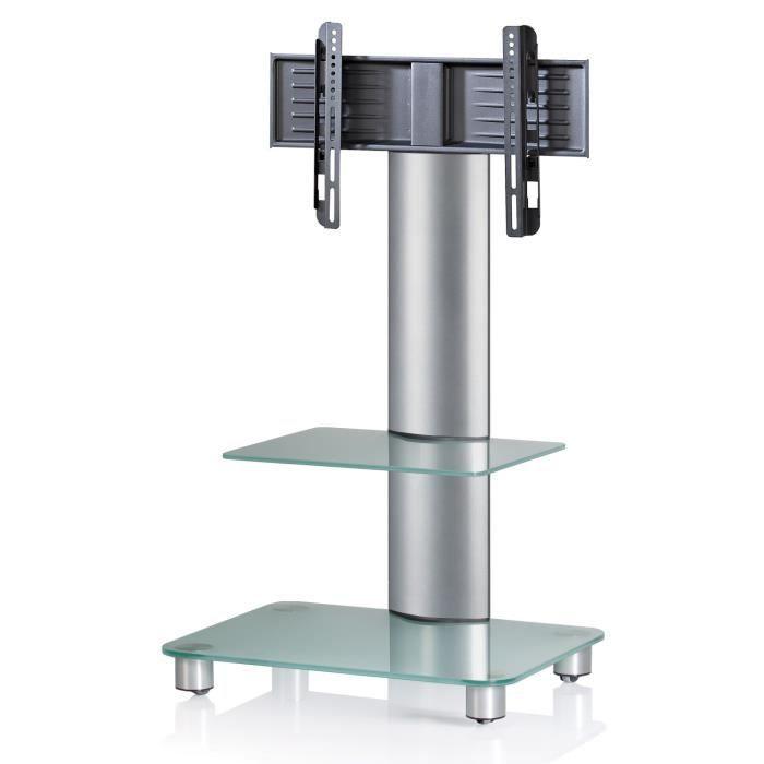 meuble tv bilano argent pied support tv cran plat avec tabl