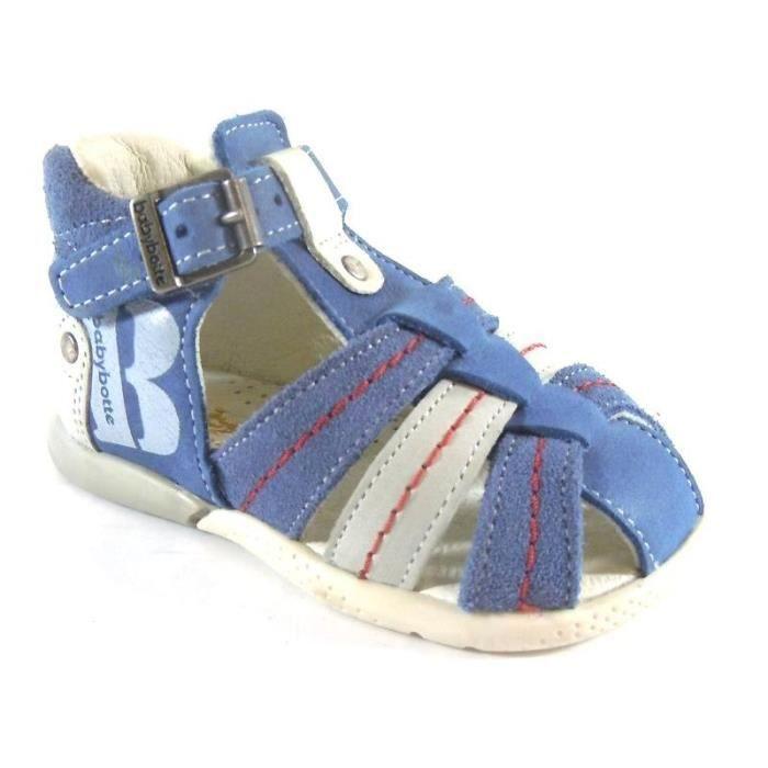 Sandales Bébé Babybotte Bleu à Boucle (19 - Médium - gris)