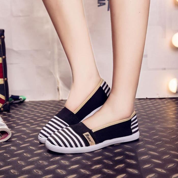 Mode Féminine Été Respirables Chaussures De Toile Slip-on Plates Pour Les Femmes,noir,40