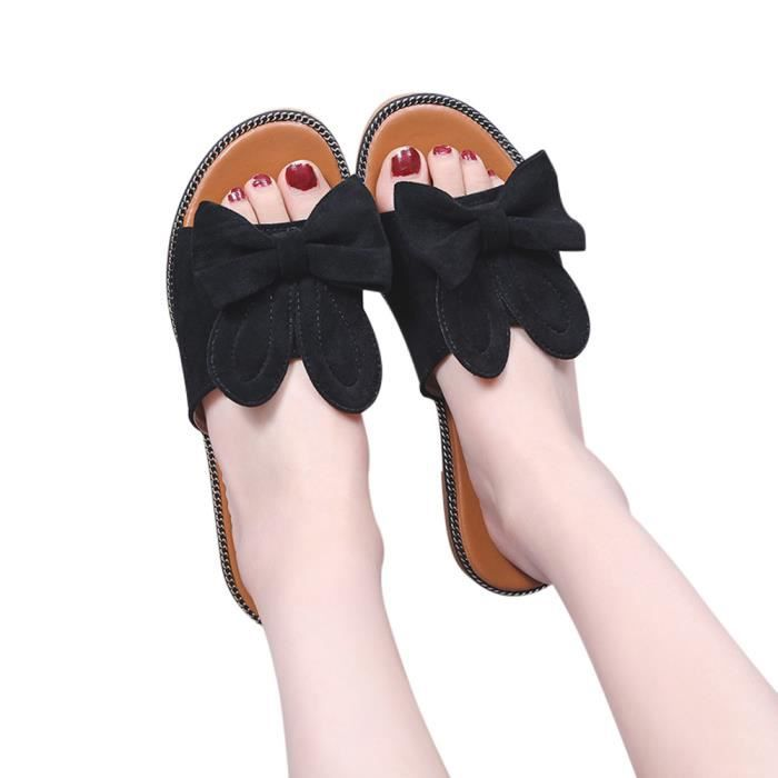 Plat Chaussures Bow Femmes Bas Bottals Sandales Solide Talon Mode Beach Slipper noir XZkwPiuOT