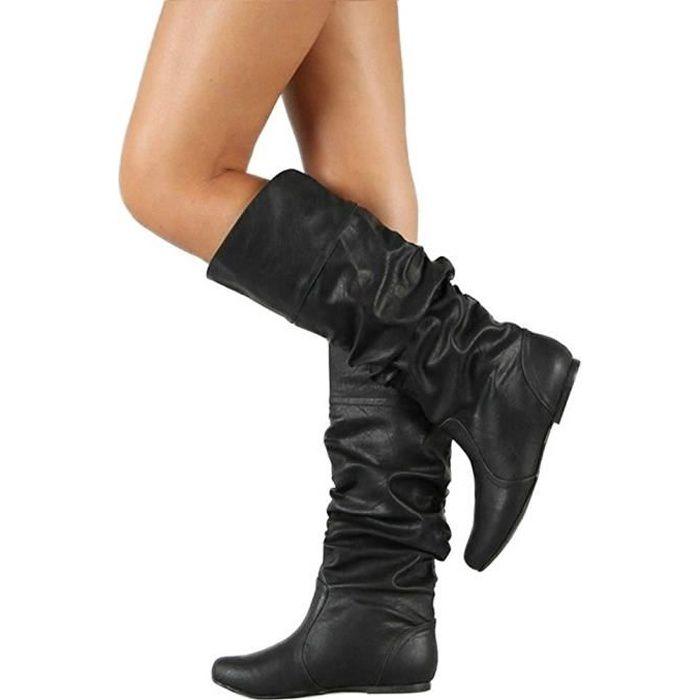 Minetom Femme Bottes Haute Hiver L Automne Mode Casual Boots En Cuir ... 073cc23519fd