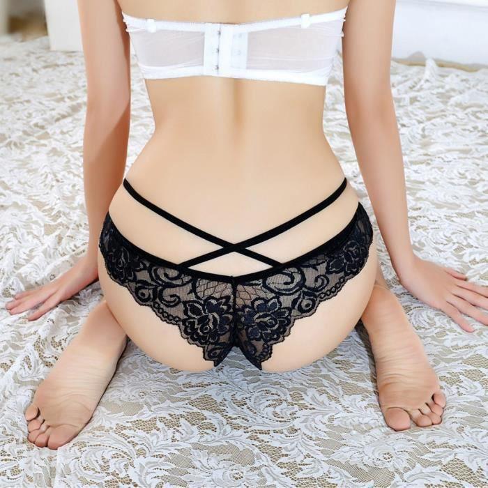 Confort Ceinture Dentelle Slip Transparente Sexy Culotte Féminin Respirant Croix Free noir wB4qEXw