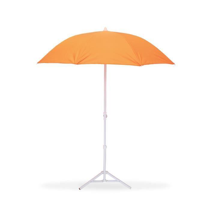 Parasol de Plage Ø160 cm   Télescopique Anti UV   Orange   Achat