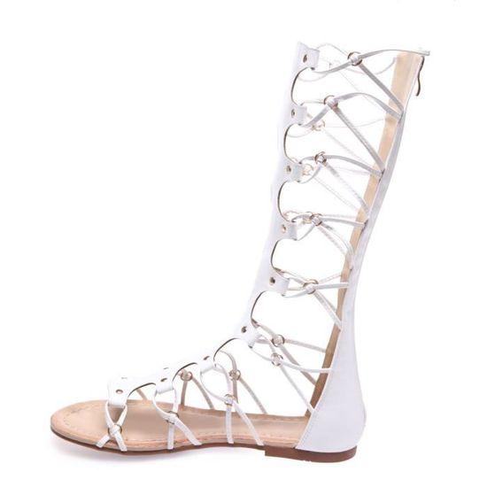 f4242f81dbd La Modeuse - Sandales montantes style spartiate en PU Blanc Blanc - Achat    Vente sandale - nu-pieds - Cdiscount