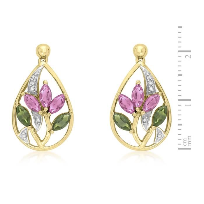 9ct Yellow Gold Diamond With Pink And Green Tourmaline Flower Drop Earrings 1DG1JO