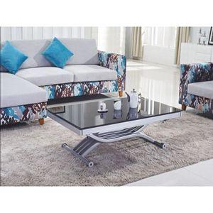 TABLE À MANGER SEULE Table basse relevable à allonges Zen Verre Noir
