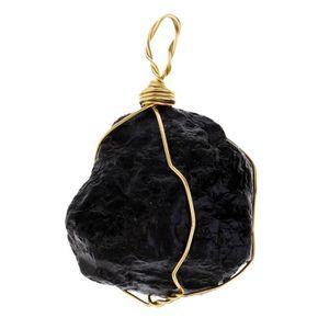 PIERRE VENDUE SEULE SEQUIN Pendentif en pierre de tourmaline noire nat