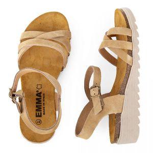 SANDALE - NU-PIEDS Sandales en cuir petit talon compensé femme EMMA