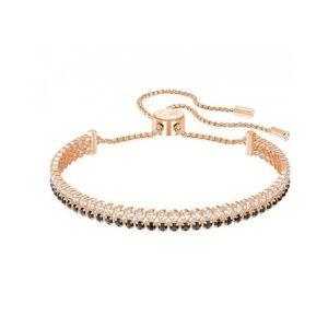 BRACELET - GOURMETTE Bracelet Swarovski Subtle Noir Plaqué or rose