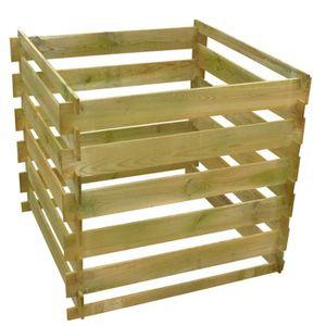 COMPOSTEUR - ACCESSOIRE Bac à compost carré en lattes en bois 0,54 m³