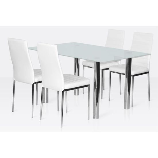 Ensemble Salle A Manger 4 Chaises Table En Verre Blanc Gris