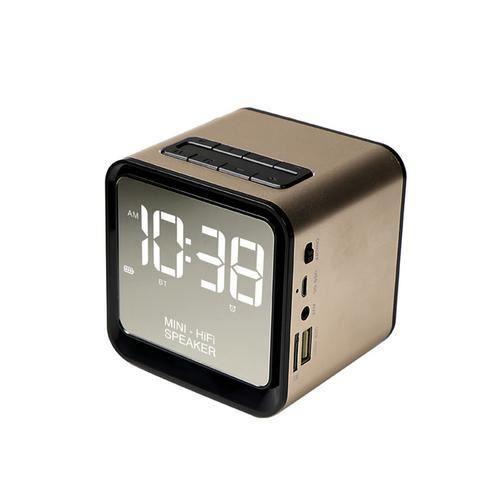 Nouvel Or P9 Métal Bluetooth Haut-parleur Carte D'horloge Mini Sans Fil Portable