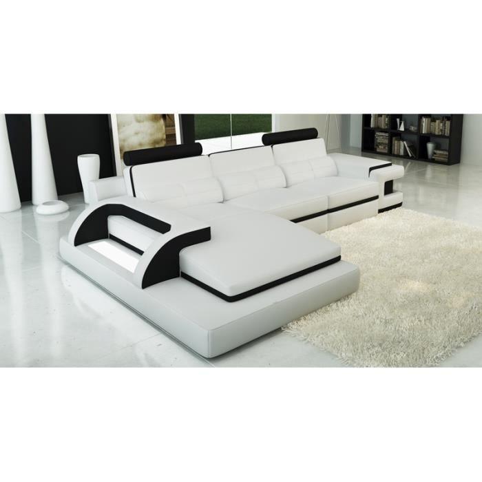 Canape Angle Cuir Noir Design Achat Vente Pas Cher - Canape d angle cuir blanc pas cher