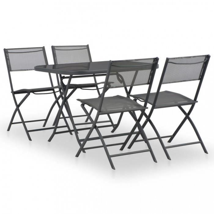 ICAVERNE ligne Ensembles de meubles d\'exterieur admirable Mobilier a diner  de jardin pliable 5 pcs Acier et texti