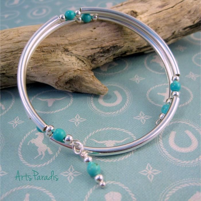 Femmes sud-ouest Turquoise pierre naturelle et en argent sterling plaqué Wrap Bracelet En NERDG