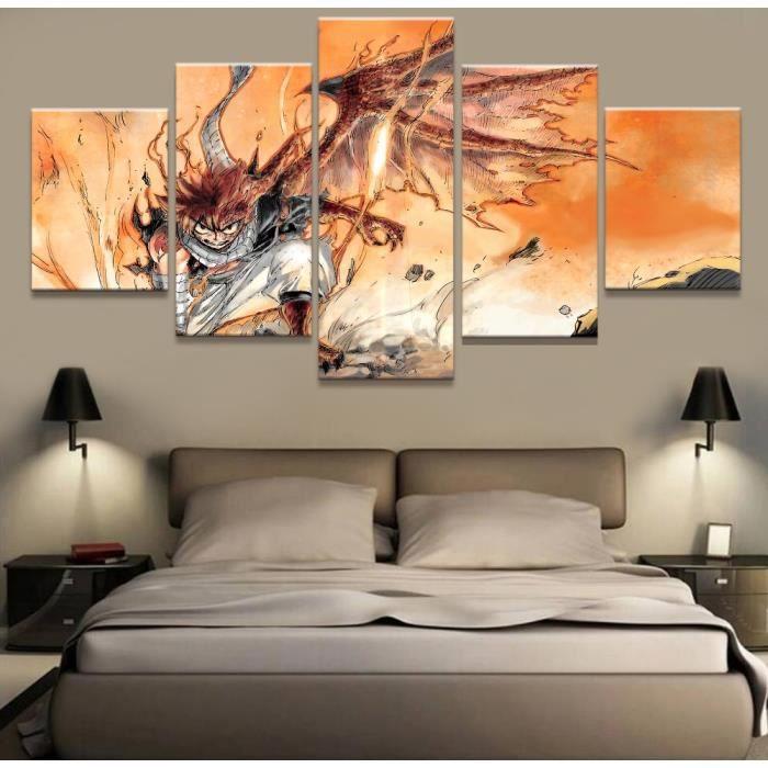 No Frame Tableau Toile Peinture 5 Panneau Anime Mur Photo Pour Salon Decore  La Maison Image