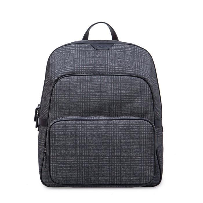 Grand sac à dos pour homme en cuir avec tartan écossais synthétique Gear Band Noir