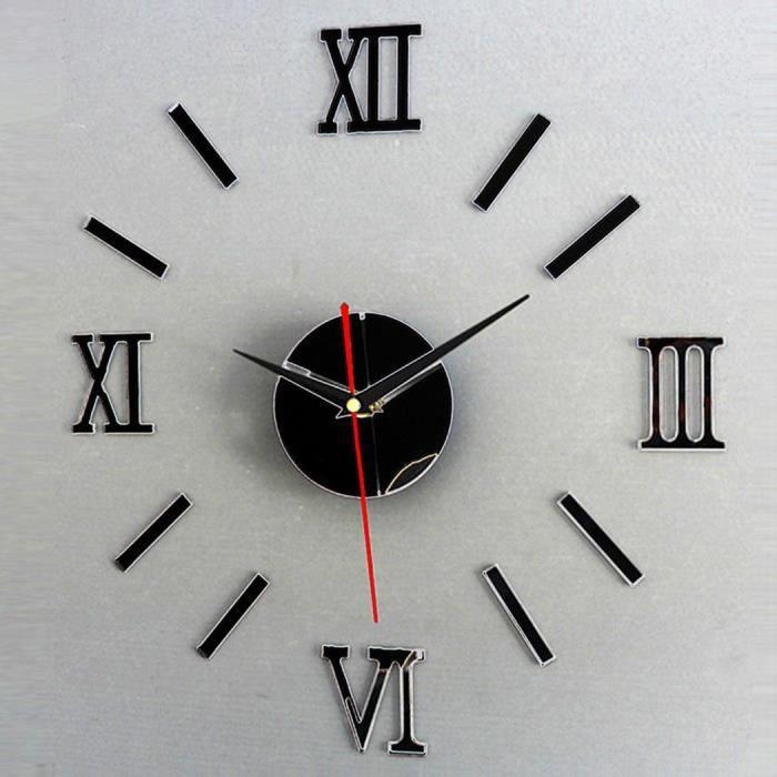 3D Mirror Horloge Murale Autocollants Surface Chiffres Romains NOIR Accueil DIY Dcor