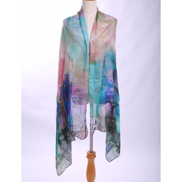 12d31ffb46d Foulard soie femme écharpe châle 80 200 CM multicolore imprimé le chat et  château vogue souple longue --vert-rose