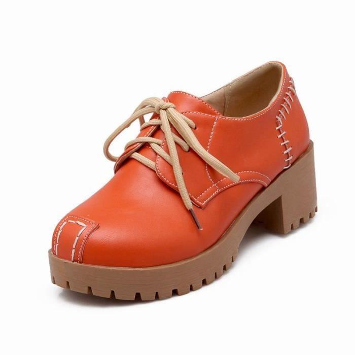 Chaussures Femme Plateforme Ronde élégante En PU Cuir Toutes les pointures de la 35 à la 43