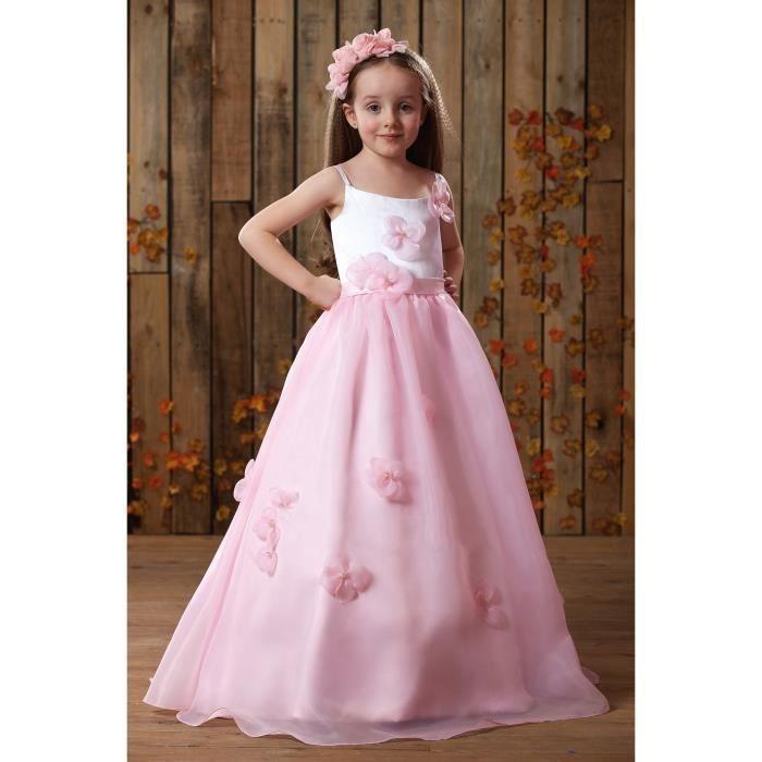 Robes de Cérémonie Mariage Fille Enfant Longue Robe de Anniversaire Fête Blanc et Rose