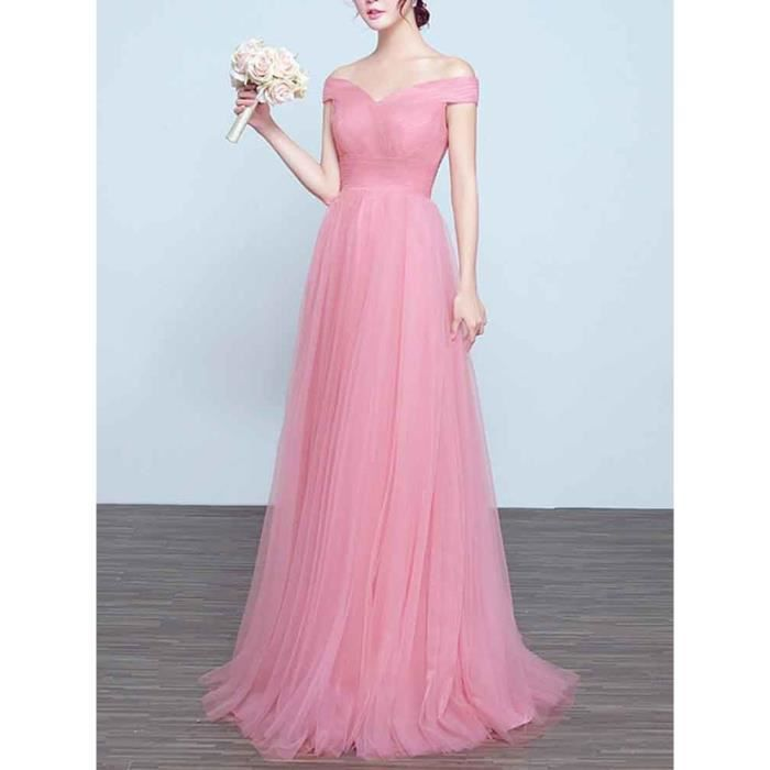 Femmes robe de soirée rouge col en V manches A-ligne élégante Maxi Robe longue 7055344