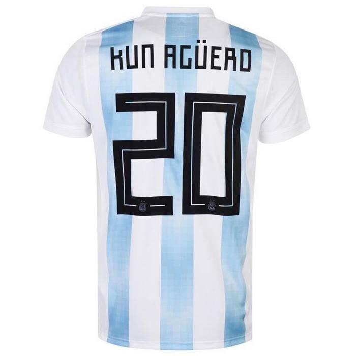 d3829f3efc7cb Nouveau Maillot Homme Adidas Argentine Flocage Officiel Aguero Numéro 20  Coupe du Monde 2018
