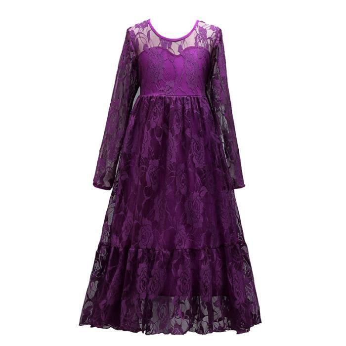 b6c873803018 Robe Demoiselle Enfant Lace Longue Robe Fille Cérémonie Pour 6-14 ...
