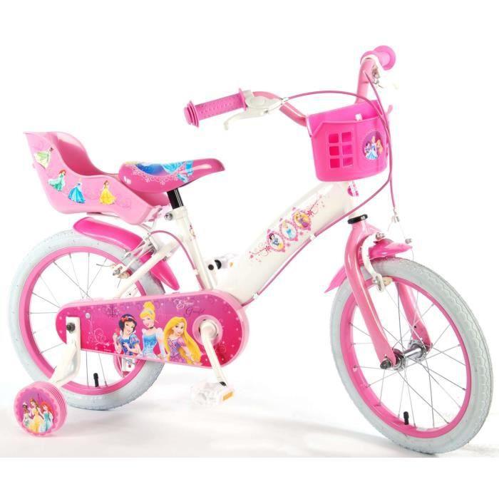 ab67a3027e70b Disney Vélo Enfant Princess 16 Pouces Freins sur Le Guidon Roues de  Stabilisation Panier et Porte des Poupées Blanc Rose 85% Assembl