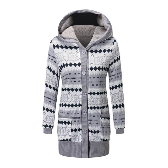 En Longue Poches Veste Tricot Femme Deux Coton Manche Hiver Cardigan Ixq4w10