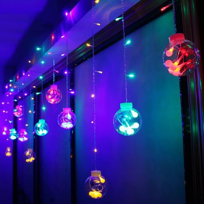 Decoration De Noel Exterieur Lumineuse.Rideau Lumineux De Noël 3m Extérieur Mariage Déco Eu Prise Lavent Multicolore
