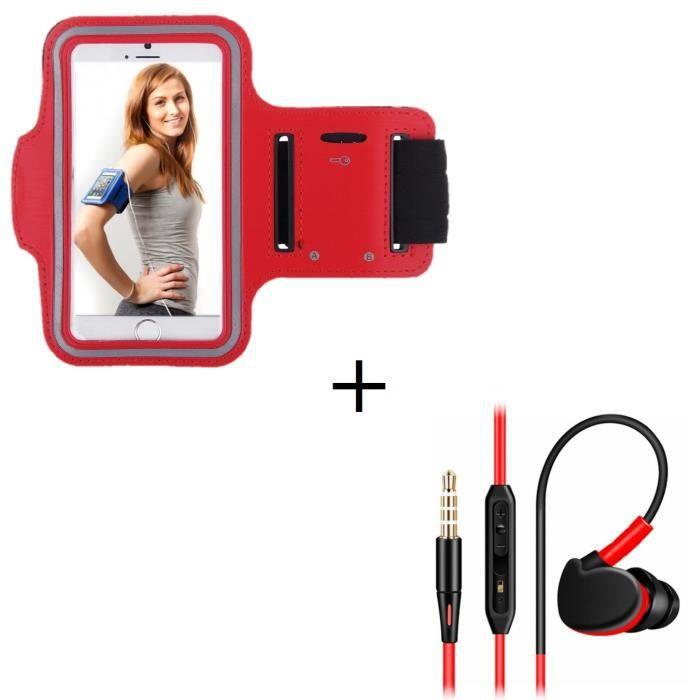 Pack Sport Pour Honor 5c Smartphone (brassard De Ecouteurs Intra-auriculaire Avec Micr - Couleur:rouge
