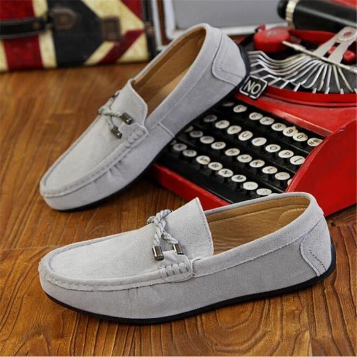 Mocassins Hommes Printemps Ete Leger Mode Chaussures ZX-XZ077Gris42