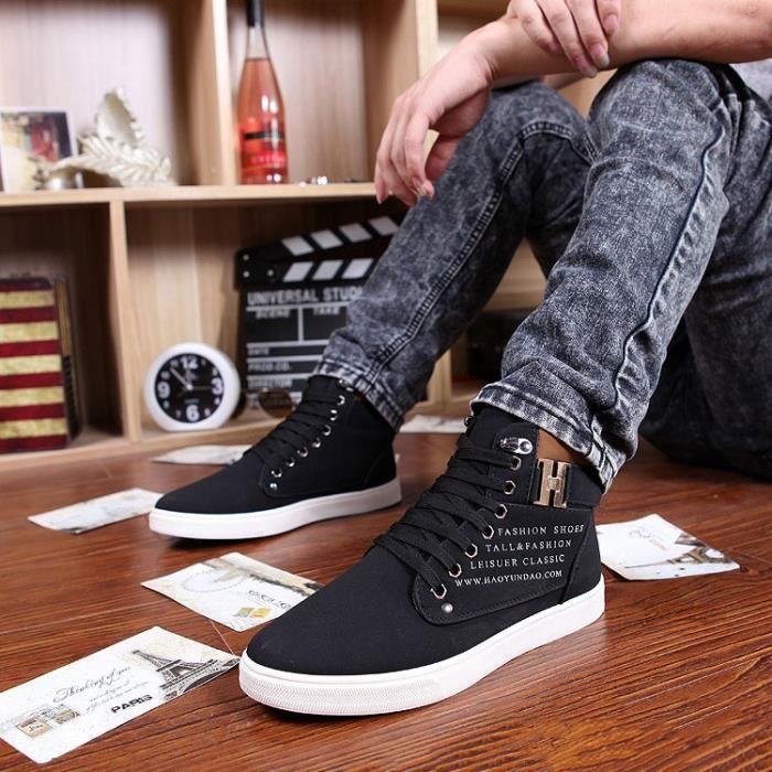 Style Coréen haut Hauts Mode Hommes Mocassins Casual BASKET,noir,7.5,6804_6804