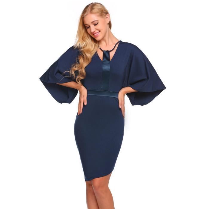 Robe de femme Casual O-Neck Flare Sleeve Front Hollow Out Package Hip Patchwork