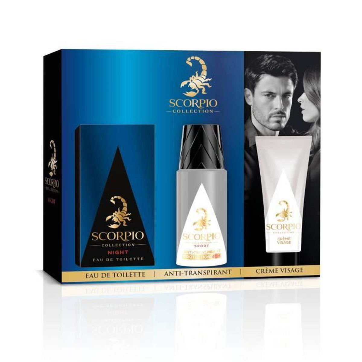 Collection Et Scorpio Gel Toilette 75mlDéodorant Night 3 Atomiseur Eau 50ml Crème Pour De 150ml Flacon Visage Coffret Produits tCQxdrshB