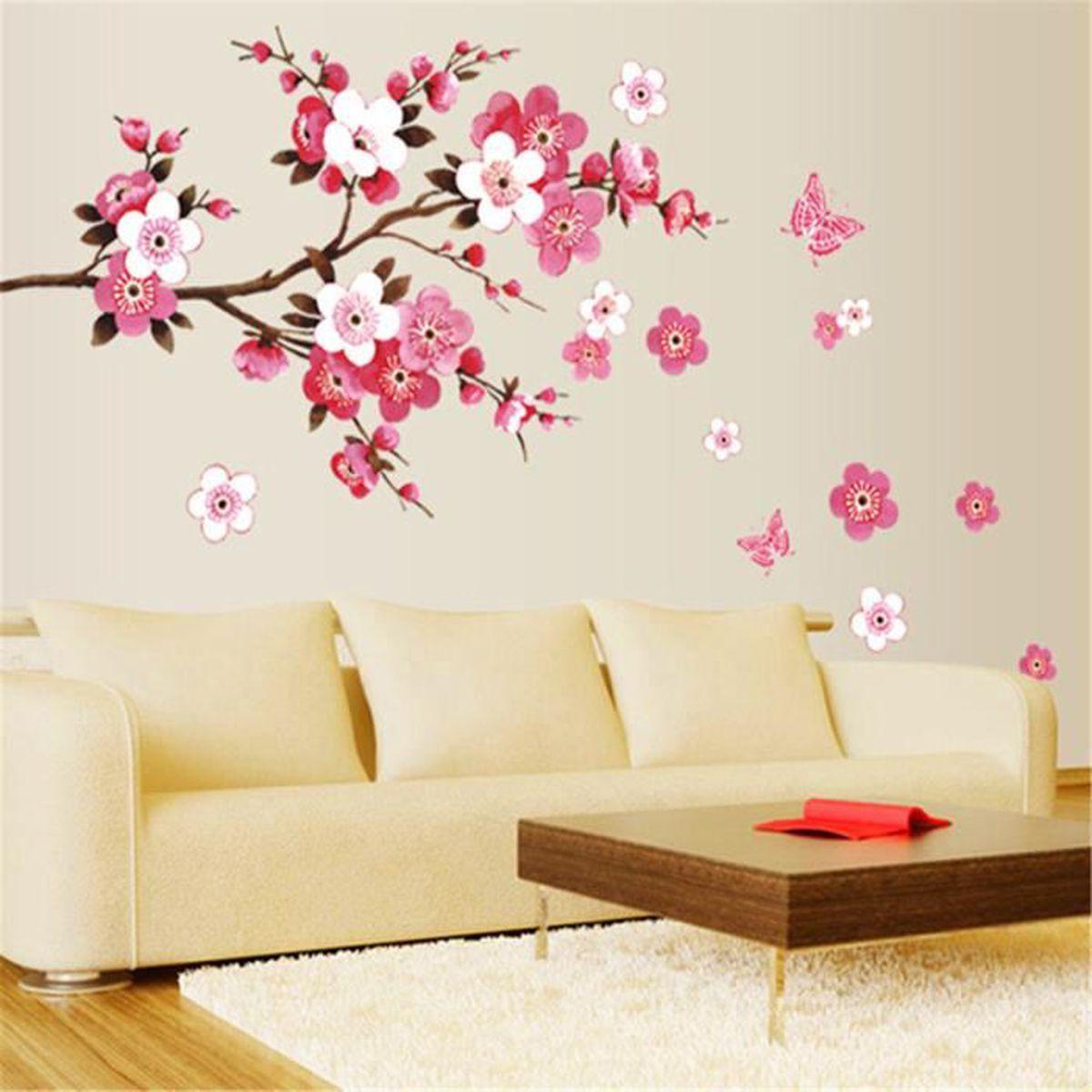 sticker mural fleur mur amovible autocollant d co maison chambre salon 45 60cm achat vente. Black Bedroom Furniture Sets. Home Design Ideas