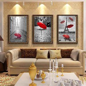 TABLEAU - TOILE 3 pieces Les rues de Paris romantique décoration m