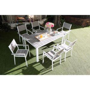 Salon de jardin aluminium blanc - Achat / Vente pas cher