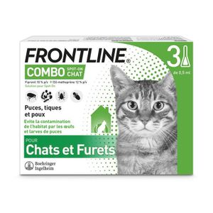 ANTIPARASITAIRE FRONTLINE 3 pipettes Combo - Pour chat