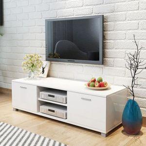 MEUBLE TV Meuble HIFI Meuble TV à haute brillance blanc 140