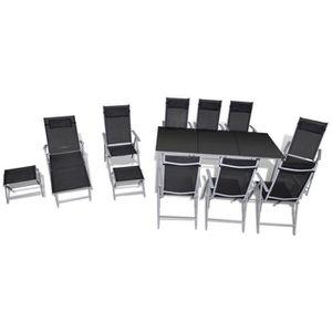 Ensemble de jardin noir et gris 12 pièces - Achat / Vente salon de ...