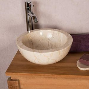 LAVABO - VASQUE Vasque BARCELONE en marbre à poser crème 30 cm